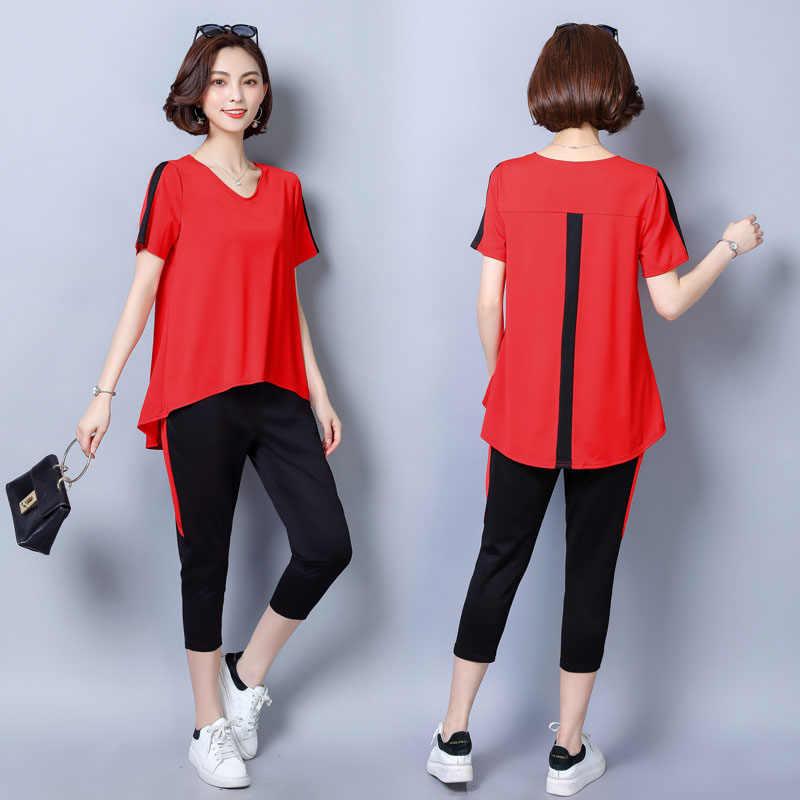b9b51b4c718 Высококачественный летний комплект из двух предметов женщины комплект  свободные блузки футболка Топы с короткими рукавами +