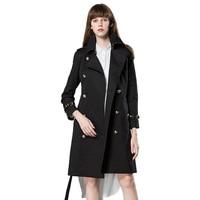 2018 Высококачественная брендовая одежда женщина классический двубортный Тренч Водонепроницаемый плащ Бизнес верхняя одежда