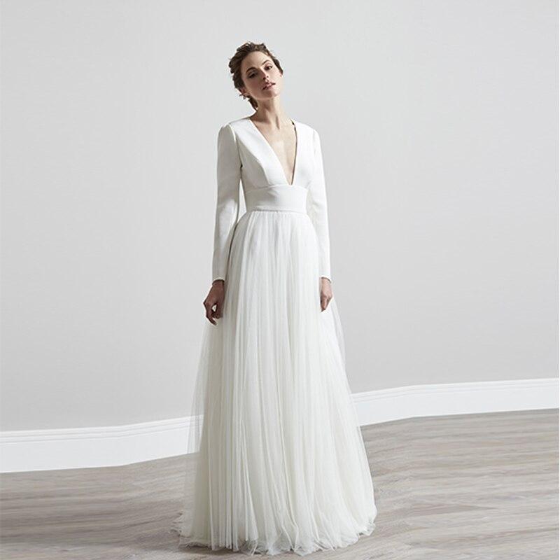 Verngo Simple A-line Wedding Dress Open Back Wedding Gowns Vintage Long Sleeve Bride Dress свадебное платье 2019