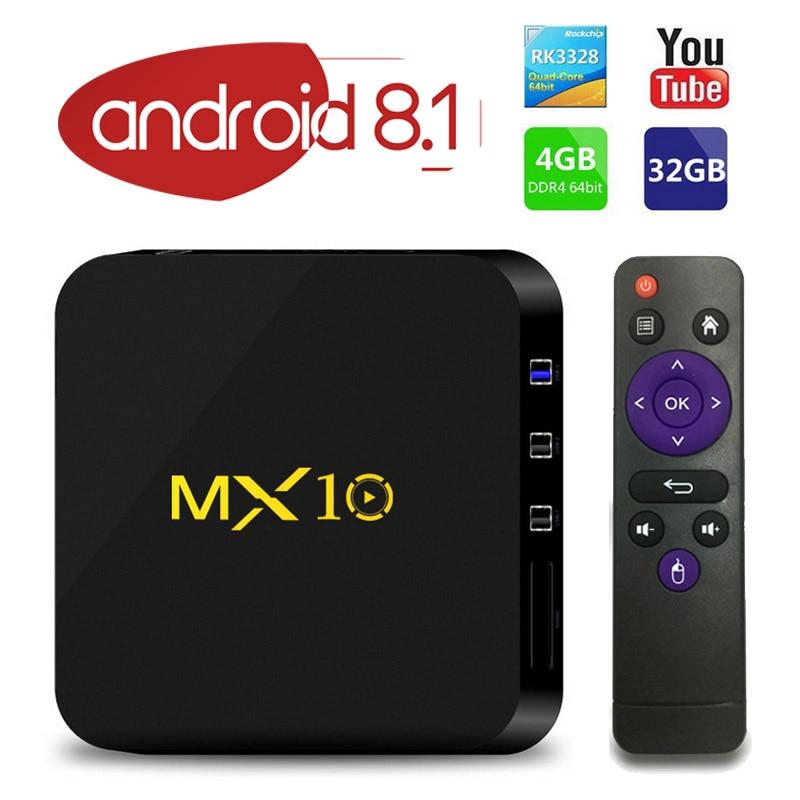 Android 8.1 TV Box MX10 4 gb/32 gb RK3328 Quad-Core 2.4g WiFi VP9 H.265 HDR10 4 k USB 3.0 IPTV Smart Media Player