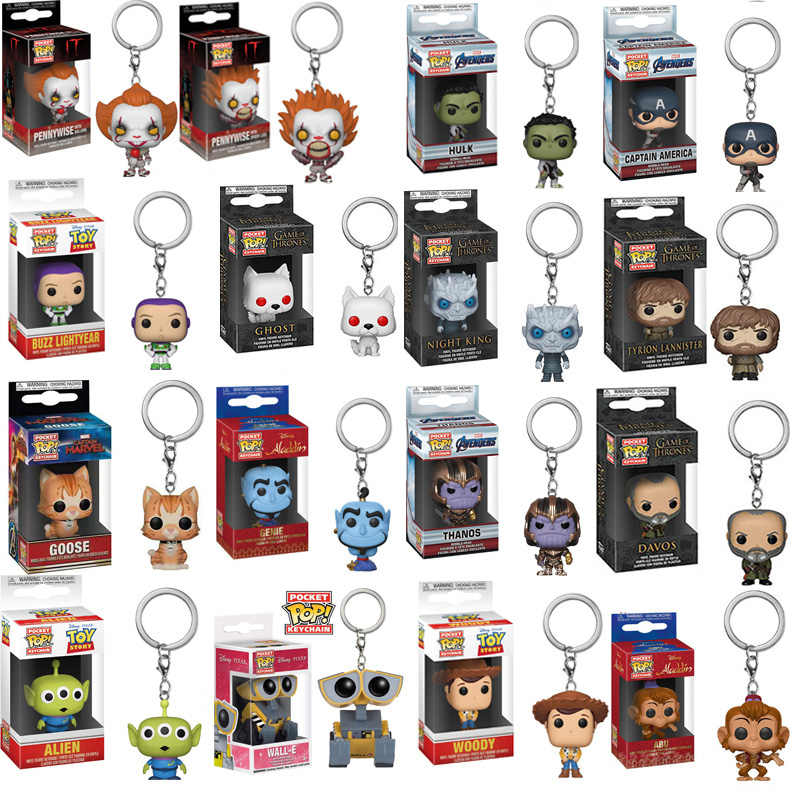 FUNKO POP New Arrival Avengers Endgame Game of Thrones Aladdin Toy Story Wall-E Pocket Keychain Action Figure Toys For Children