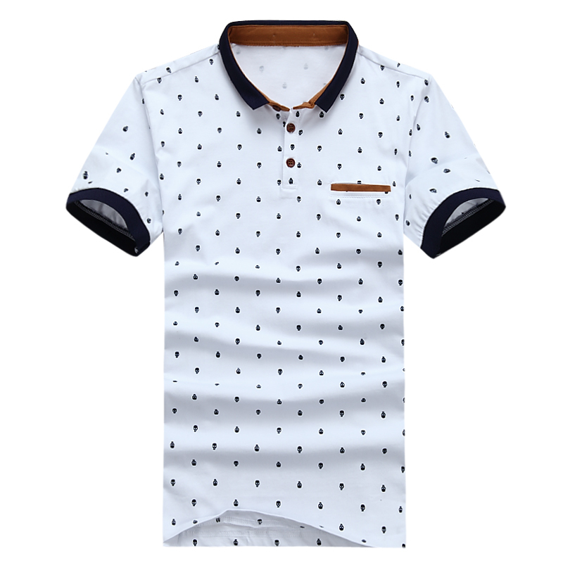 Image 3 - MIACAWOR חדש חולצת פולו גברים 95% כותנה קיץ חולצה קצר שרוול Poloshirts האופנה גולגולת נקודות הדפסת Camisa חולצות Tees MT437-בפולו מתוך ביגוד לגברים באתר