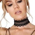 2016 Nueva Negro Lace Choker Collar Para Las Mujeres Ahueca Hacia Fuera La Flor Gargantillas Amplia Gargantilla tatuaje gargantilla collares mujer Collier Femme