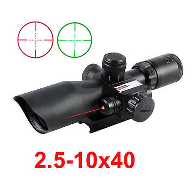 ФОТО Tactical Red Dot Laser Sight 2.5-10X 40mm Scope Reflex Red / Green Reticle Mount