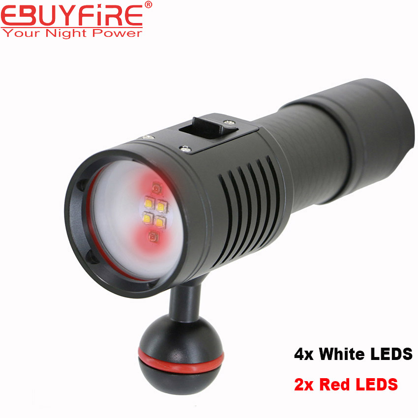 Diving Photography flashlight Underwater Video torch LED 4x CREE White 2x Cree Red led Scuba Photo lighting diving flashlight cree red light torch photography underwater video led flashlight 4x white 2x cree red led scuba photography