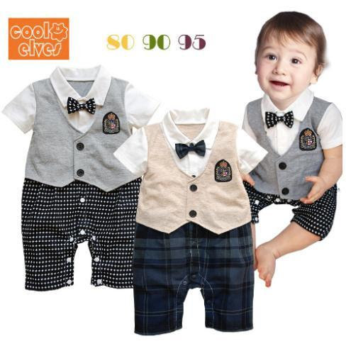 Formal Dress Plaid Clothes Brand Design Gentleman One Piece Romper Birthday Wedding 4th Of July For Infantil Baby Boy 80226