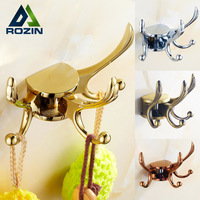 Gold/chrome Bathroom Kitchen Hooks Wall Mounted Brass Rotation Coat Hat Hanger Free Shipping
