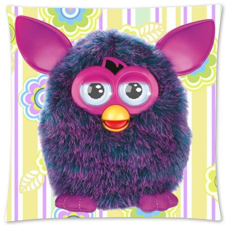 Custom Furby With Flower Fashion Style Cotton Zippered Linen Decorative Furby Pillow Case Standard Size 45x45 cm(Twin Sides)