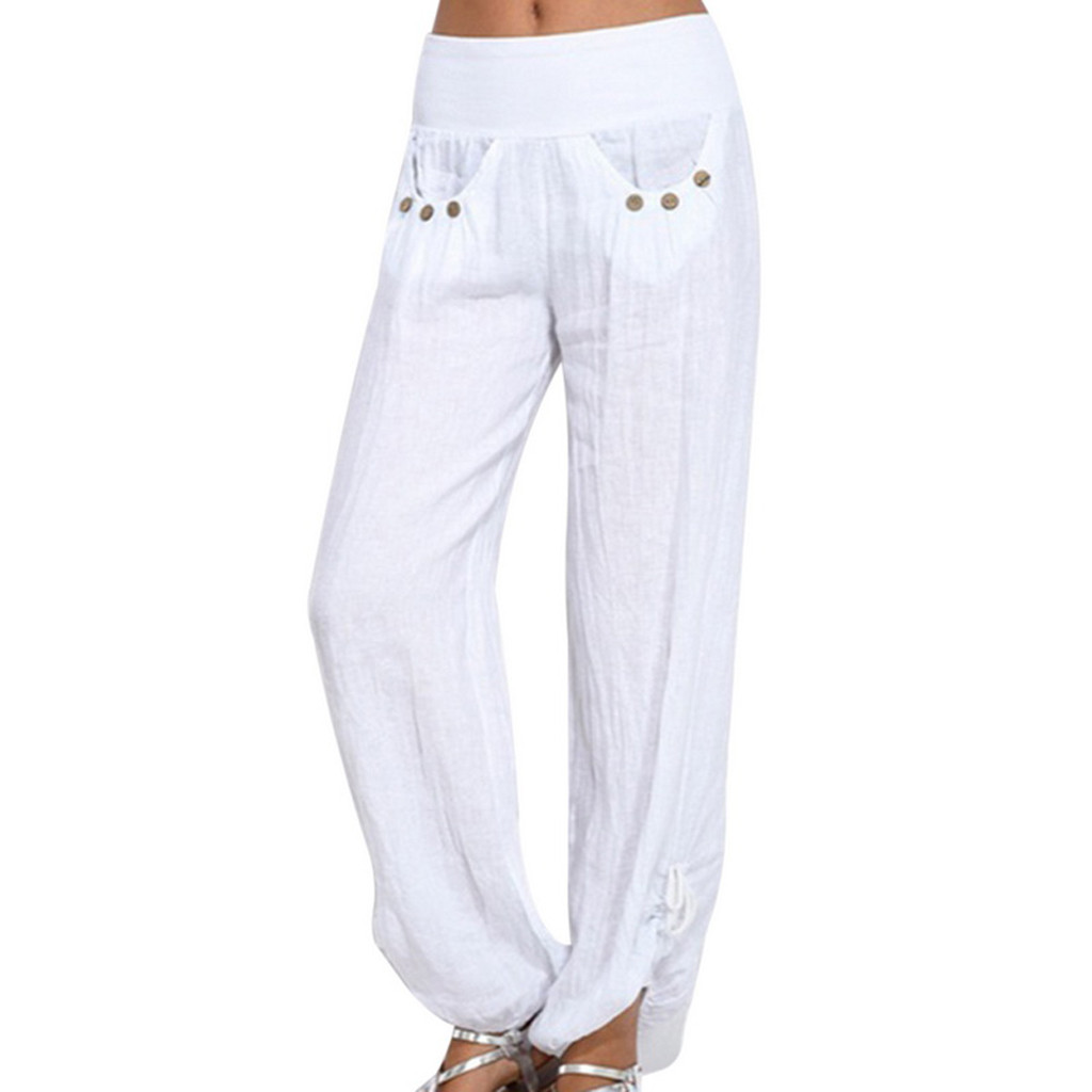 Sleeper #401 2019 NEW FASHION Women Solid Buttons Cotton And Linen Casual Loose Trouser   Wide     Leg     Pants   Free Shipping