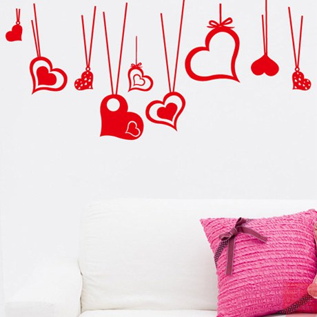 Valentine decorative glass wall stickers window stickers affixed grilles female clothing shop free shipping pink love in wall stickers from home garden on