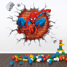 3D Hole Famous Cartoon Movie Spiderman Wall Stickers For Kids Rooms Boys Gifts Through Decals Home Mural Decor Accessories