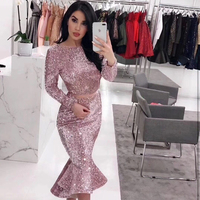 Halinfer 2018 Autumn Sexy women dress 3 Colors O Neck Sequined Rayon Bandage Elegant Homecoming Evening party dress