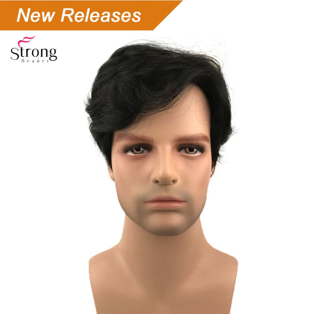 StrongBeauty Black Short Full Wigs Synthetic Wig For Men