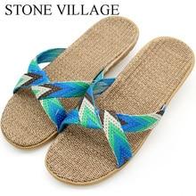 Slippers Shoes Flats Women Cross Summer Indoor Silent Stone Village Home