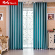 Latest 70% 85% Shading Modern Style Solid Navy Color Faux Plain Linen  Blackout Curtain For Living Room Window Custom Made Part 67