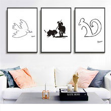 Canvas Painting Picasso Minimalist Abstract Line Drawing Nordic Poster Squirrel Animal Wall Picture Home Decor No Frame(China)