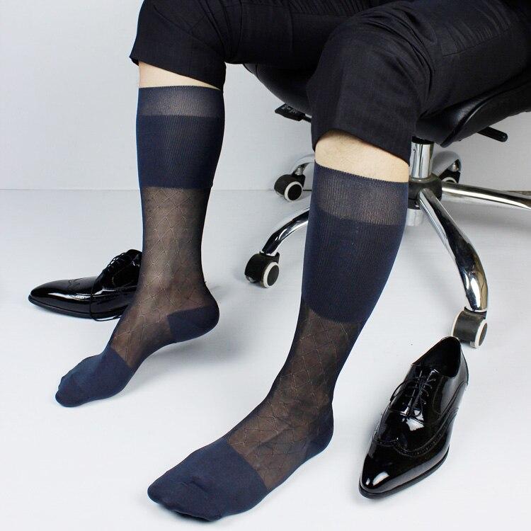 SORRYNAM High Quality Men Sheer Silk Gay Socks Transparent Sexy Men Dress Suit Formal Socks