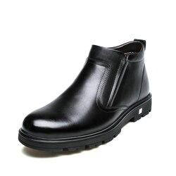 Leather shoes men 2018 winter new men's snow boots, leisure warm boots, old men's shoes, and men's shoes.