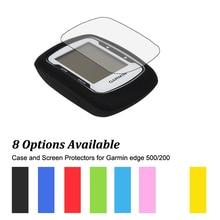 Caso de La Piel de goma Protegen + Clear Screen Protectors Protector de la Película para Ordenador de Bicicleta con GPS Garmin Edge 500/200 Muti-colores