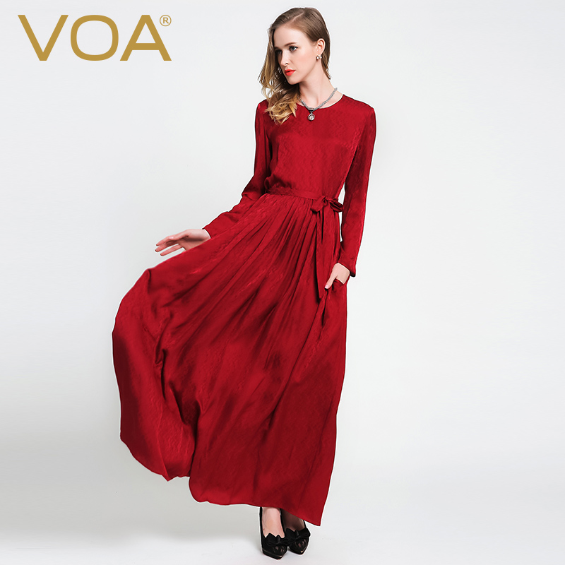 VOA 2018 Autumn Chinese Red Long Sleeve Silk Maxi Dress Brief Casual Tunic Lace Up Plus Size Women Loose Dresses vestidos A6057