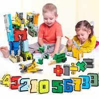 Número de 15Pcs DIY Transformação Criativa Montagem Tijolos de Blocos Robô Deformação LegoINGLs Brinquedos Para As Crianças Presentes de Natal