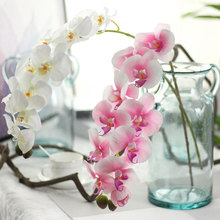 3Pcs/Lot Phalaenopsis Glue Artificial Decoration Flowers Home Display for European Decor Plant