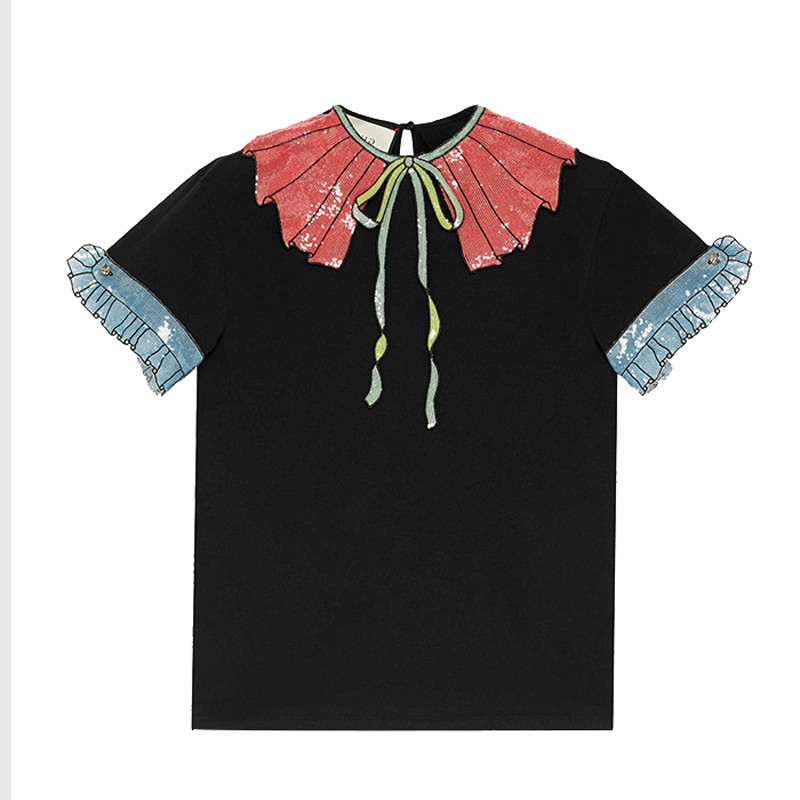 HIGH-QUALITY-Newest-Fashion-2016-Runway-Women-s-Short-Sleeve-Bow-Luxury-Sequined-Cotton-Top-T