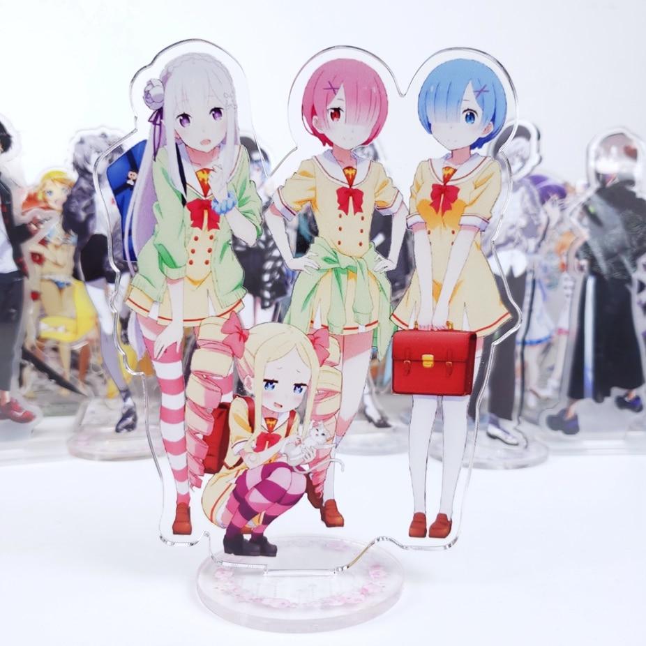 Japanese Anime Re Zero Kara Hajimeru Isekai Seikatsu Rem Ram Emilia Acrylic Stand Figure Decoration Cosplay Cute Decor Gift 15cm