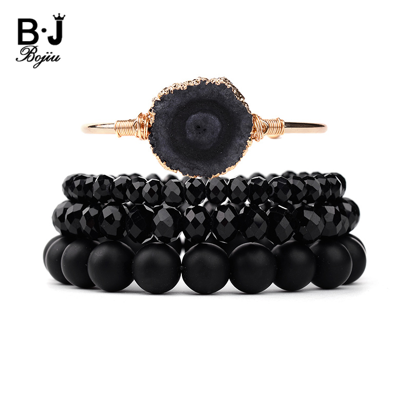 BOJIU Natural Druzy Stone Gold Cuff Bracelet For Women Black Crystal Round Beads Bracelets Set Female Christmas Gift BCSET185BOJIU Natural Druzy Stone Gold Cuff Bracelet For Women Black Crystal Round Beads Bracelets Set Female Christmas Gift BCSET185
