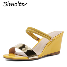Bimolter Women Peep Toe Sandals Yellow 7cm Wedges High Thick Heels Casual Summer Comfort Sheepskin Insole Shoes For Lady FC012