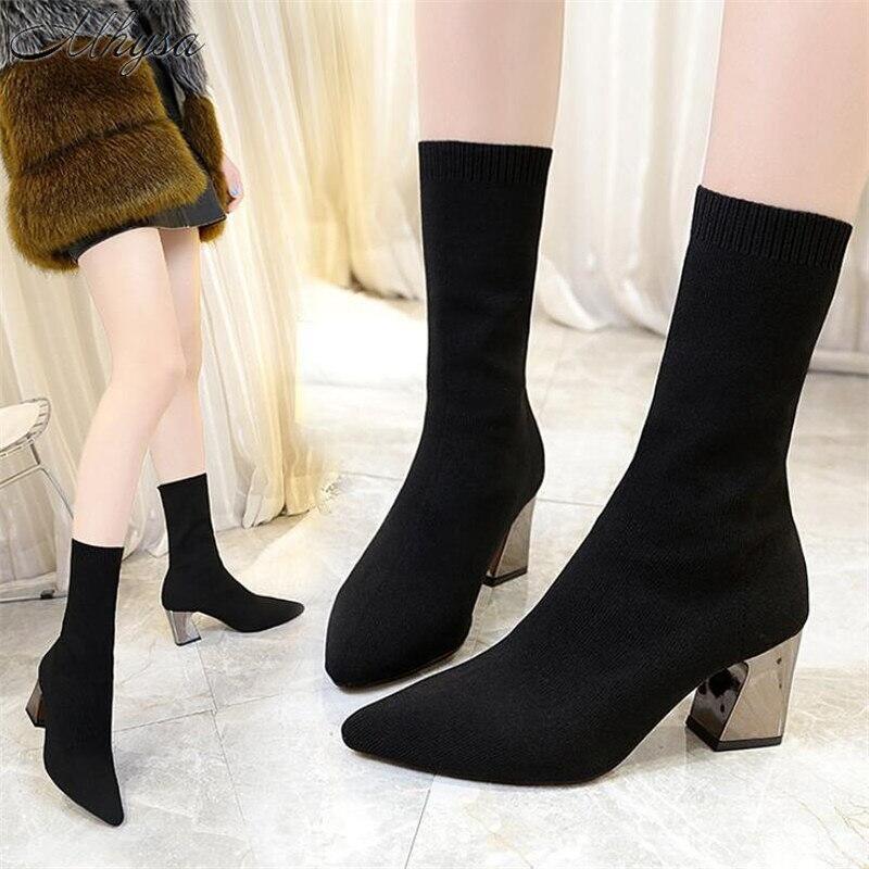 adf608b3f52aa Detalle Comentarios Preguntas sobre Mhysa 2018 zapatos de mujer otoño  invierno nuevo stovepipe botas elásticas de tacón alto tubo calcetines botas  ...