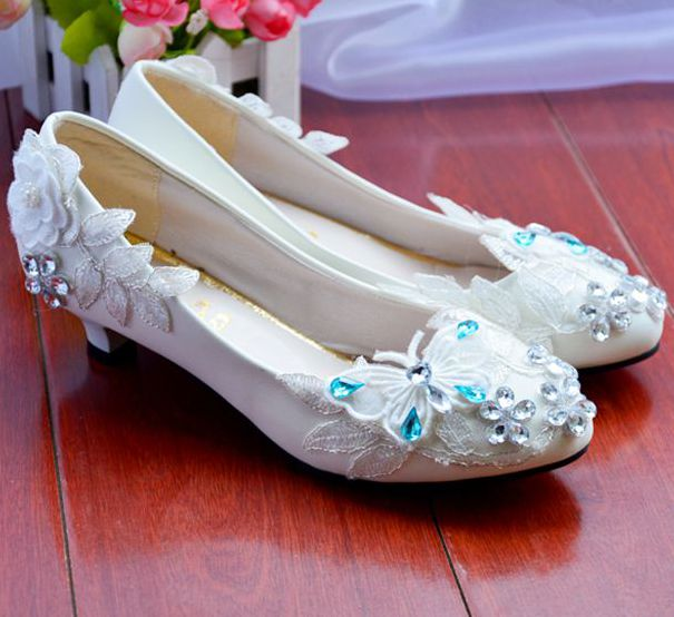 ФОТО Wedding shoes white for women, crystals lace rhinestnes bridal low high middle heels pumps shoes,  PR787 silver blue party shoe