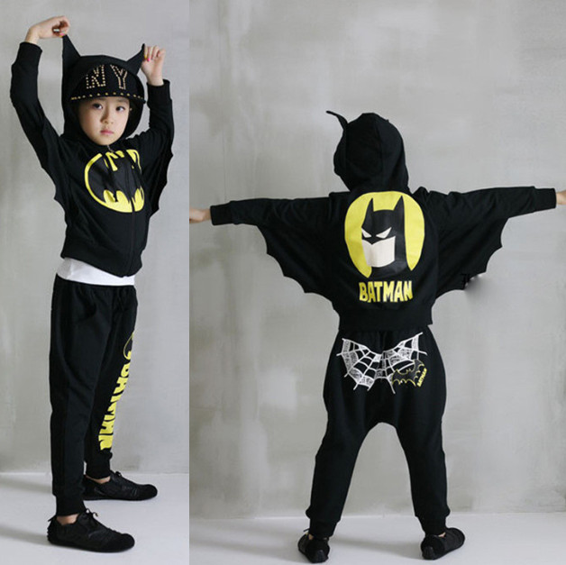 ФОТО Boys Spring Autumn clothes baby boys Bats Wings children's winter clothing sets black gray 2 pcs long sleeve children hoody