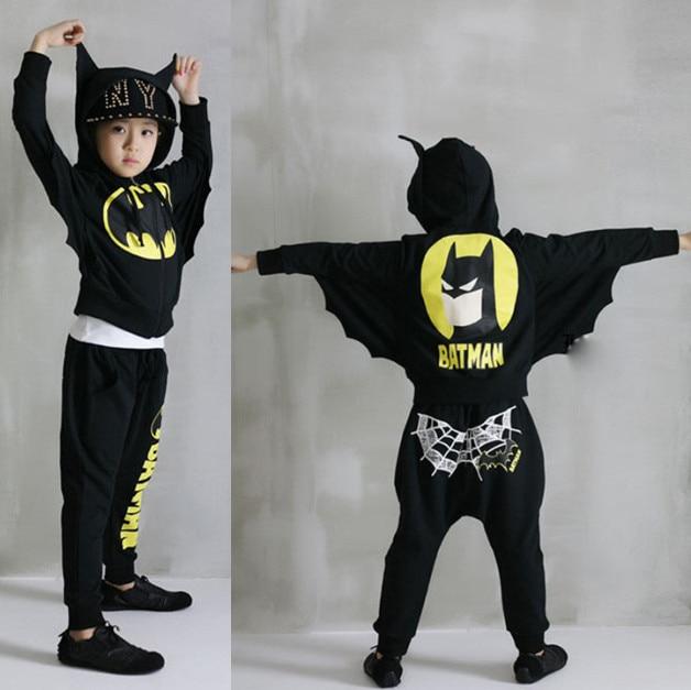 ФОТО Boys Spring Autumn clothes baby boys Bats Wings children's winter clothing sets black gray 2 pcs long sleeve children hoody