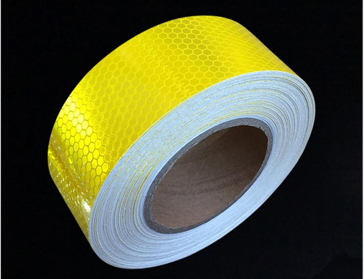 5cm*45m Gold Yellow Adhesive Reflective Warning Tape For Road Traffic Construction Site