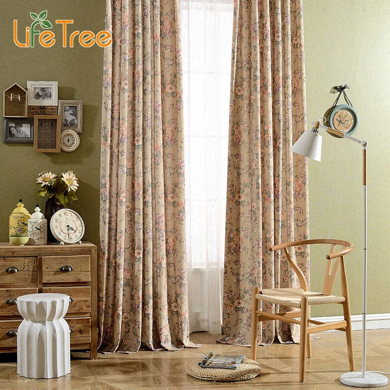 Spring Flowers Printed Linen font b Curtains b font For Bedroom Window Tulle In Living Room