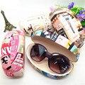 Sunglasses Case  Brand Women Hard Case Letter Print Leather Hard Case