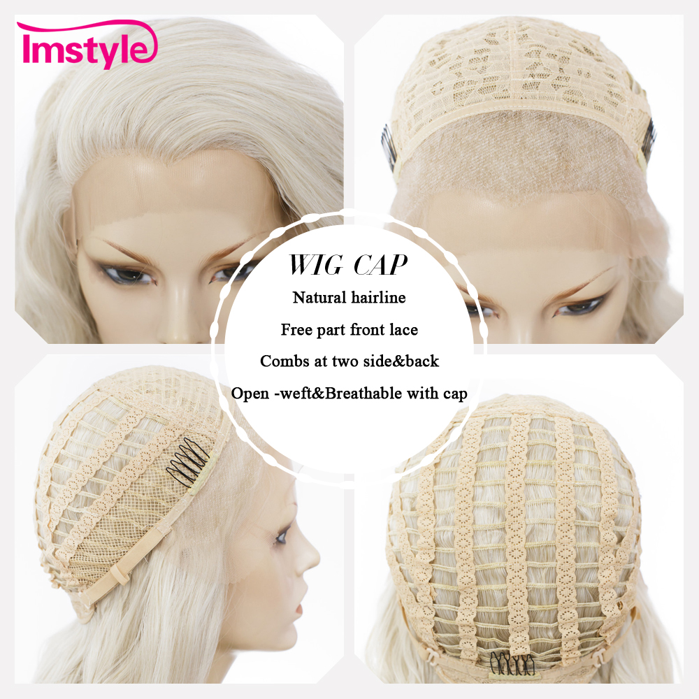 Image 5 - Imstyle Ash Blonde Lace Front Wigs For Women Synthetic Hair Wig Long Wavy  Cosplay Wigs Heat Resistant Fiber Glueless 24 Inches-in Synthetic None-Lace  Wigs from Hair Extensions & Wigs