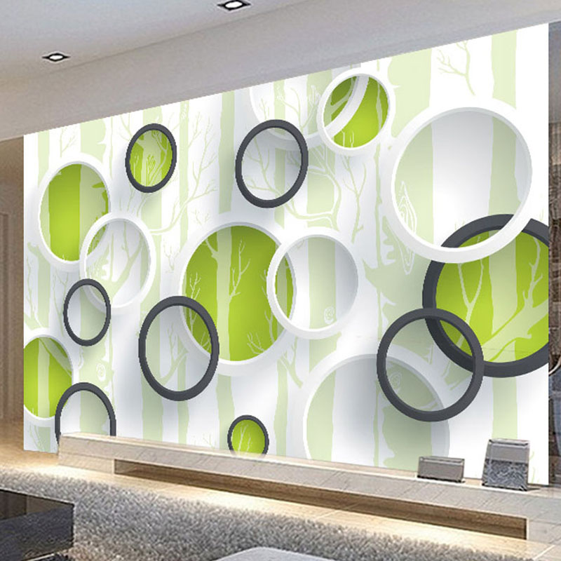 Custom 3D Mural Wallpaper Modern Geometric Circles Non-woven Wallpaper Roll For Living Room TV Background Wall Covering Paper стоимость