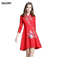 New Brand Chinese Style Vintage Women Autumn Winter Dress 2017 V Neck Luxury Phonix Embroidery A