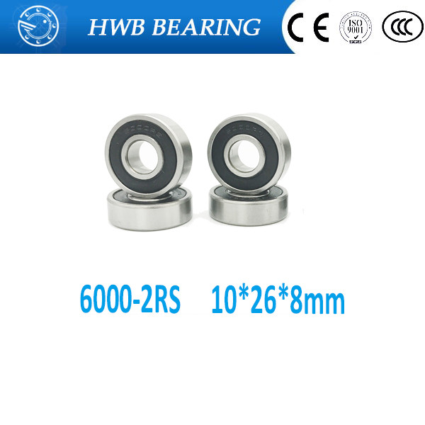 Free shipping 6000-2RS 6000 RS 6000rs deep groove ball bearing 10x26x8mm  6000-2RSH  Rubber Sealed Ball Bearing  MR12268-2RS 6000 2rs sealed deep groove ball bearing 10mm inner dia black silver tone