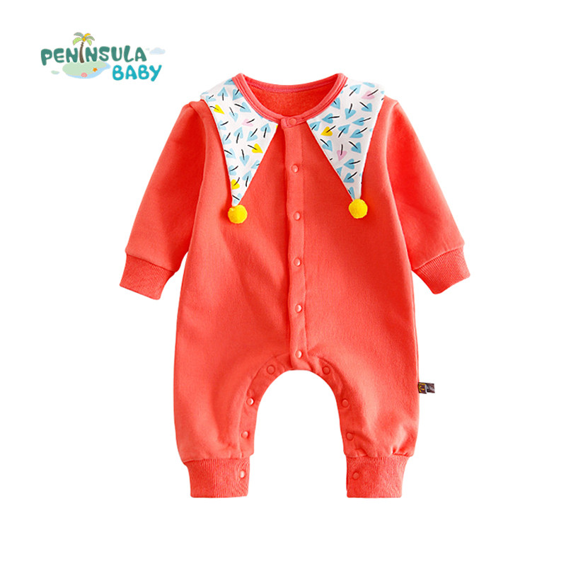 Baby Winter Warm Rompers Long Sleeve Infant Coveralls Boy Girls O-Neck Jumpsuit Cotton Solid Hairbal Casual Newborn Kids Clothes newborn infant baby girls boys rompers long sleeve cotton casual romper jumpsuit baby boy girl outfit costume