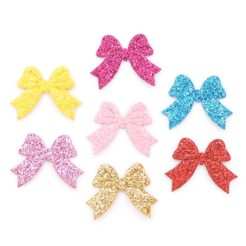 100 шт. смешанные блестящая кожаная ткань аппликации галстук-бабочка шапки для ремесел одежды украшения DIY волосы бант аксессуары K70