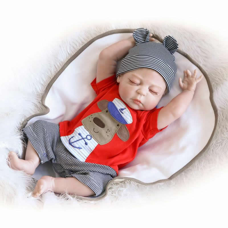 NPKCOLLECTION 23 Inch / 57cm Realistisk Reborn Babies Full Silicone Livlig Boy Body Baby Dolls Med Lukkede Øjne Kids Sleeping Toy