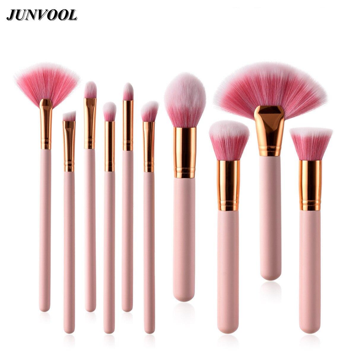 10pcs Pink Makeup Cosmetic Brushes Face Nose BB Cream Powder Liquid Eye Shadow Foundation Tools Make Up Base Large Fan Brush цена и фото