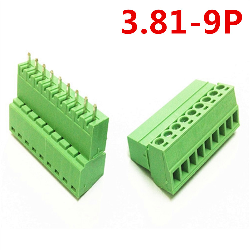 10sets 9Pin Straight PCB Electrical 300V 10A 3.81mm pitch Green Screw Terminal Block Connector wire terminals pin header &socket