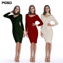 PGSD New Simple fashion Pure color Women Clothes Long sleeves Medium length Willow nail decoration Slim Knitted dress female