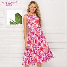 S.FLAVOR Fashion Sleeve Printing Dress Casual O neck Slim A line Vestidos De Classic Retro Womens Party Dresses