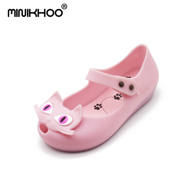 Mini Melissa Cat Sandals 2018 Autumn Kids Shoes Girls Jelly Sandals Comfortable Melissa Princess Shoes Jelly Shoes Cat 15-18cm