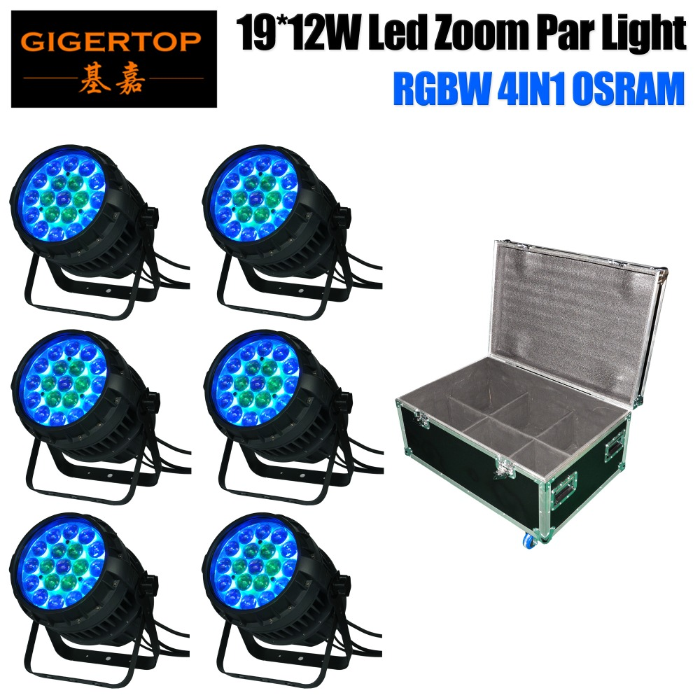 6in1 Flightcase Pack 19x12W Zoom Led Waterproof Par Cans Aluminum Housing DMX/Auto/Master-slave/Sound Function 19x12W OS-RAM LED